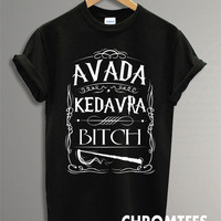 avada kedavra harry potter magic spell shirt for women and men t-shirt printed black and white (CR-15)