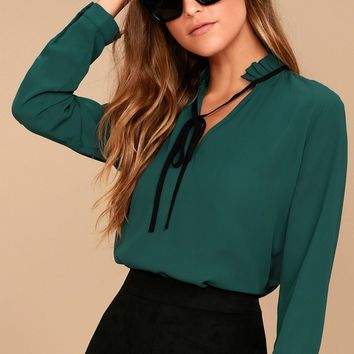 Tea Shop Teal Blue Long Sleeve Top