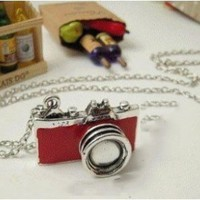 niceeshop(TM) Unique Vintage New Retro Camera Photographer Necklace,Red