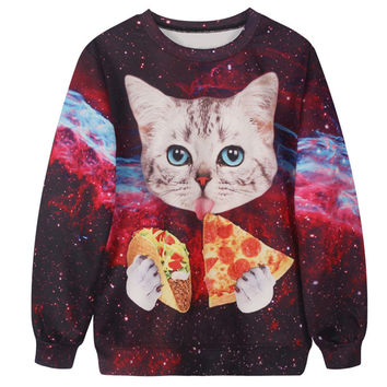 2016 Punk Sweatshirt Women Hoodies Jacket Fashion kitten eating pizza 3d Printed Hoodies Women O-neck Collar sudaderas mujer