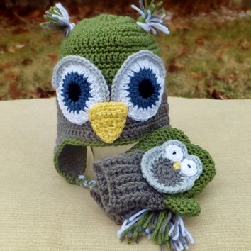 YOUTH Owl and Mittens SET - 30 colors to choose from - Custom Made