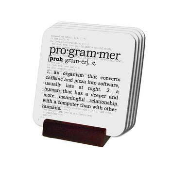 Programmer Definition Coasters with Display Holder