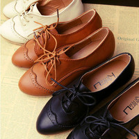 Comfortable Classics Women Shoes Lace Up Dress Oxfords Low Heels shoes Multi
