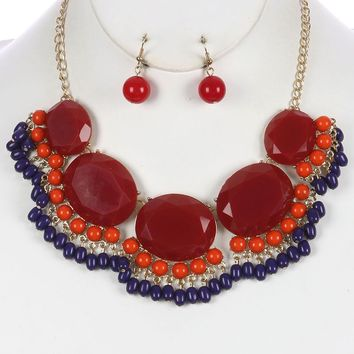 Red Faceted Oval Stone Bead Fringe Bib Necklace And Earring Set