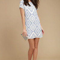 Give Me a Print Light Blue Print Shift Dress