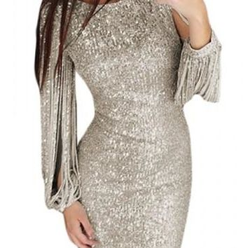 Silver Sequin Tassel Sleeve Bodycon Party Dress