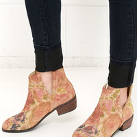 Sbicca Rosette Natural Floral Print Cutout Leather Booties