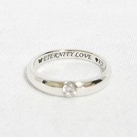 Crystal Swarovski Silver Ring Sterling Ring .925 Silver Ring Personalized Ring