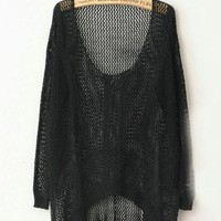 Twist Hollow-out Black Sweater $42.00