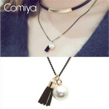 Comiya Red Black Tassel Imitation Pearl Leather Choker Necklaces Set Women Girl European Punk Stylish Two Layers Necklace Rope