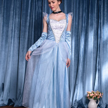 Light Blue Ruched Lace Accent Princess Costume
