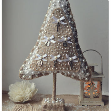 Rustic Christmas home decor - OOAK burlap Christmas tree - eco-friendly - rustic home decor