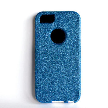 Custom iPhone 5 Glitter Otterbox Commuter Cute Case,  Custom  Glitter Blue /White Otterbox Color Cover for iPhone 5