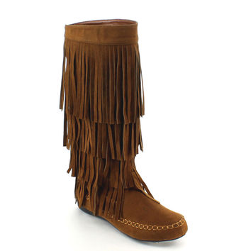 Yoki Women's 'Mudd-55' Fringe Knee-high Boots