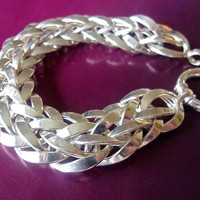 Sterling Silver Woven Link Turkish Bracelet, Large Spring Ring Clasp, Reversible Sides, Vintage