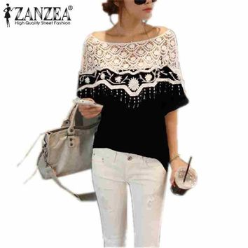 Women's Blouses Shirts S-5XL N Hollow Crochet Shawl Collar Lace