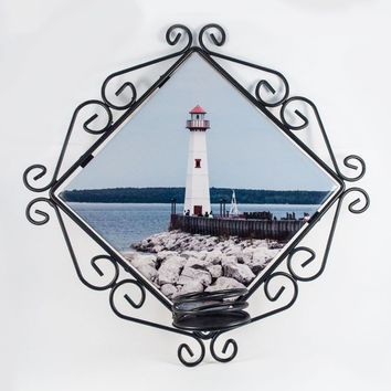 Candle Holder, Wrought Iron, Wawatam Lighthouse Design