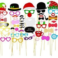 72pcs Photo Booth Props DIY Kit for Wedding Party Reunions Birthdays Photobooth Dress-up Accessories & Party Favors, Costumes with Mustache on a stick, Hats, Glasses, Mouth, Bowler, Bowties