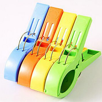 4pcs Powerful laundry clips Large windproof clip cotton quilt clothing plastic clothespin clothes sun caught big clip