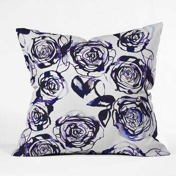 Holly Sharpe Inky Roses Outdoor Throw Pillow