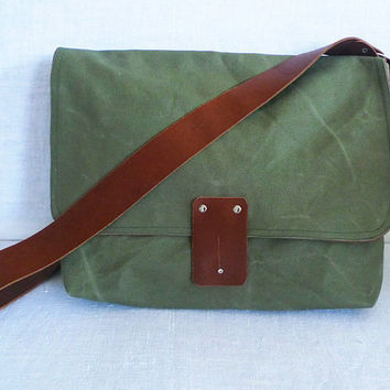 Khaki Green Waxed Canvas Single Leather Strap by ottobags on Etsy