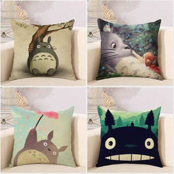 Cute cartoon Lovely Totoro chinchillas throw pillow cover case cotton linen seat cushion cover for car sofa bedroom decorations
