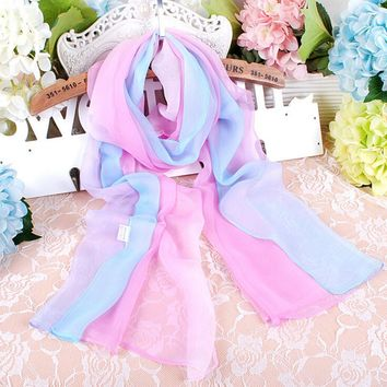 1PC Hot Fashion Shawl Scarf Chiffon Glitter Ombre Hijab Neck Warmer Silk Scarf Women Girls Cape 160*50 Long Headband