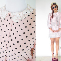 Vintage 80's pink black polka dot peter pan lace collar puff sleeves lolita school girl elastic waist light weight mini