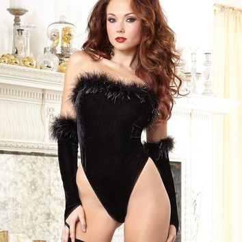 Ultra Sexy Strapless Velvet and Mesh Teddy Set