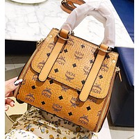 MCM Fashion New More Letter Shoulder Bag Women Handbag Brown