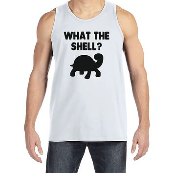 Men's Funny Shirt - What the Shell? - Funny Mens Shirts - Turtle Shirt - White Tank Top - Gift for Him - Funny Gift Idea for Boyfriend