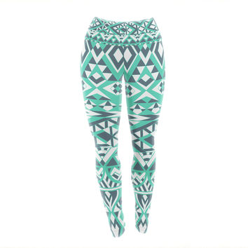 "Pom Graphic Design ""Tribal Simplicity"" Teal Yoga Leggings"