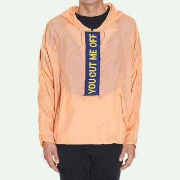 """You Cut Me Off"" Salmon Anorak by OFF-WHITE"