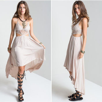 Backless Strap Cut Out Lace Maxi Dipped Hem Dress