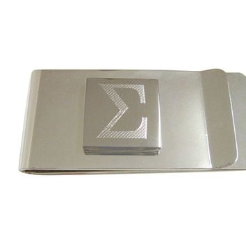 Silver Toned Etched Mathematical Greek Sigma Symbol Pendant Money Clip