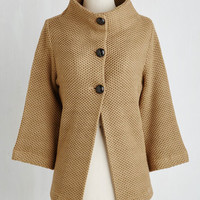 Vintage Inspired Mid-length 3 Corner Coffee Shop Cardigan in Cappuccino