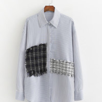 Irregular stitching striped loose shirt