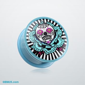 A Pair of Urban Fuse Sugar Skull Single Flared Skull
