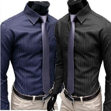Men's Stripe Stylish Long Sleeve Dress Shirts