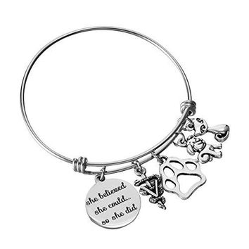 Veterinarian Bracelet Adjustable Wire Bangle Medical Caduceus Animal Charms Graduation Birthday Jewelry Gifts for Women