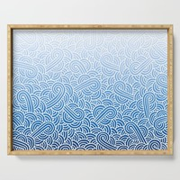 Faded blue and white swirls doodles Serving Tray by savousepate