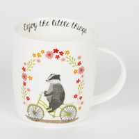 Enjoy the Little Things Badger on Bike Mug