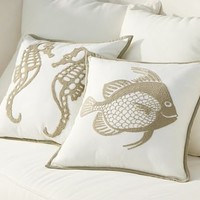 Sea-Life Embroidered Outdoor Pillow | Pottery Barn