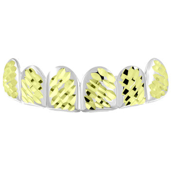Diamond Cut Top Teeth Grillz 14k Yellow Gold Finish