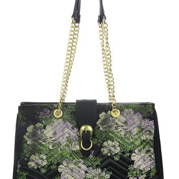 Purple Flower Silky Brocade Gold Chain Purse Large Handbag