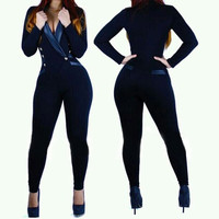 fashion solid color Jumpsuits