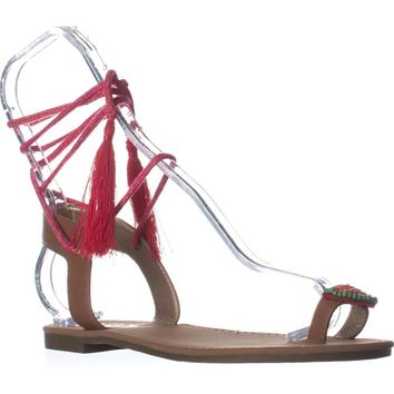 Circus by Sam Edelman Binx5 Toe Ring Lace Up Sandals, Saddle, 9 US / 39 EU