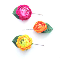 Crown and Glory Hair Accessories — Ranunculus Bobby Pin Trio - Tutti Frutti