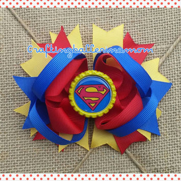 Superman Hair Bow - Super Girl Hair Bow - Superhero Hair Clip - Superman Outfit - Superman Birthday - Superhero Girl Birthday - Headband