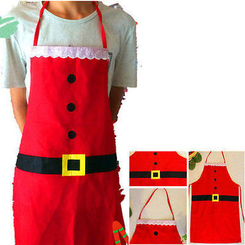 1 Pcs  Christmas Kitchen Bar Home Adult Red Cooking Xmas Party Aprons Pinafore